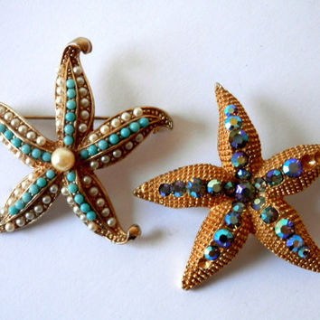 Summer Beach Fashion Pair of Vintage Starfish Brooches