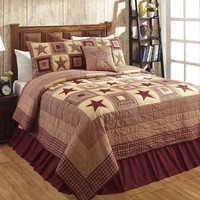 Colonial Country Primitive Rustic Jamestown Burgundy and Tan Star Quilt Sets