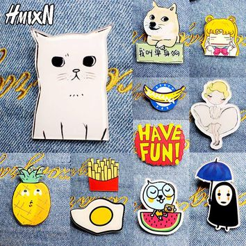 2017 New Acrylic Brooches Pins Figure Simpson Fruit cartoon jewelry cute dog cat Broche shirt enamel pin