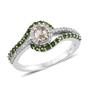 Turkizite, Russian Diopside, Cambodian Zircon Platinum Over Sterling Silver Ring