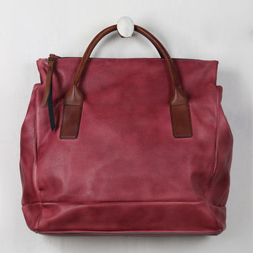 Weathered Vegan Leather Zippered Tote Bag