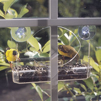 Window Bird Feeder - Transparent Plastic Window Bird Feeder - 3 Sided