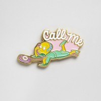 Skinnydip x The Simpsons Mr Burns Call Me Pin Badge at asos.com