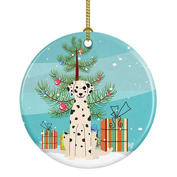 Merry Christmas Tree Dalmatian Ceramic Ornament BB4222CO1