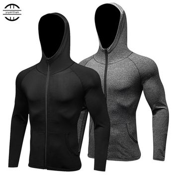 2018 YEL Long Sleeve Sport Shirt Men Hat+Zipper Women's Running T-shirts Gym Sports Clothing Sport Top Men's Sportswear Rashgard