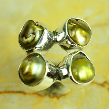 Golden Pearl Handmade Cluster 925 Silver Ring 9 Grams Size US#9.00