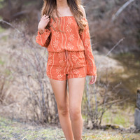 Sun Goddess Off The Shoulder Cinched Waist Embroidered Romper (Cinnamon)