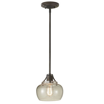 Clear Seeded Glass Shade 1-Light Pendant Ceiling Light in Rustic Iron
