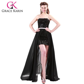Chiffon + Sequins Sexy Black Strapless Dance Prom Gown Elegant Long Evening Dress 4408