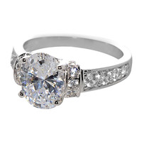 Sterling Silver Cubic Zirconia Engagement Ring Oval 8mmx10mm AAAAA Grade CZ