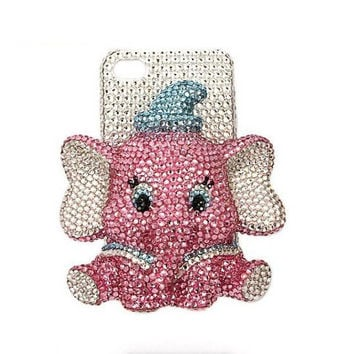 iphone 4 case/ iphone 4s case ,studded crystals rhinestone 3D elephant iphone 5 case cover handmade