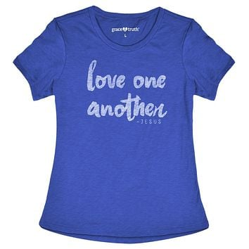 Cherished Girl Grace & Truth Love One Another -Jesus Girlie Christian Bright T Shirt