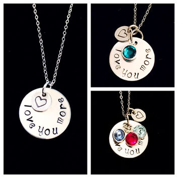 "Love You More Sterling Silver Disc Necklace with Heart Charm and 18"" chain By Tickle Bug Jewelry!"