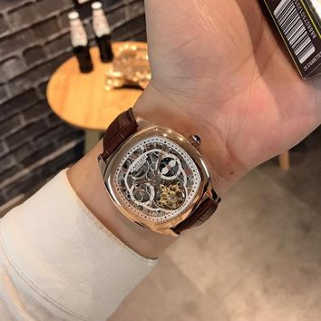 HCXX C035 Cartier Fashion Square Hollow Automatic Machinery Leather Watchand Watches Maroon Rose Gold