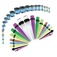 BodyJ4You Gauges Kit Mix Color Tapers Rainbow Plugs Steel 14G-00G Stretching Set 36 Pieces