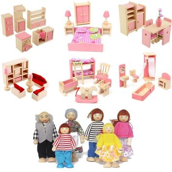Delicate Wooden Dollhouse Furniture For Dolls For Kids Children Pretend Play Bedroom Kitchen 6 Room set/4 Dolls Toys Gifts