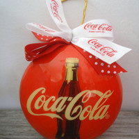 Coca Cola Christmas 1994 Enesco Decoupage Ornament, Coke Christmas Ball with Original Box