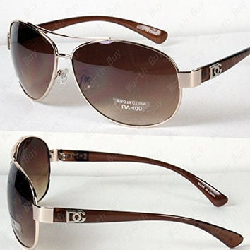 New DG Eyewear Aviator Fashion Designer Sunglasses Shades Mens Women Gold/Brown