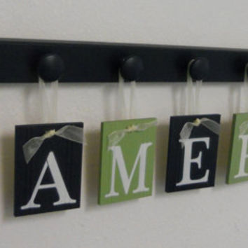 Alphabet Wooden Letters. Set Includes 7 Peg Display and Babies Name CAMERON Painted Light Green and Navy Blue. Baby Boy Room Wall Decor