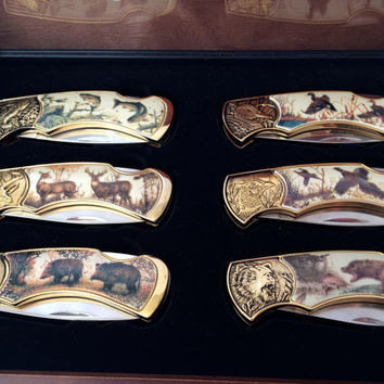 Hunting Knife set, Franklin Mint, Wood Display Case, Rick Fields Artist, Stainless steel, 24k Gold Trim, Six Knife set, Pocket Hunting Knife