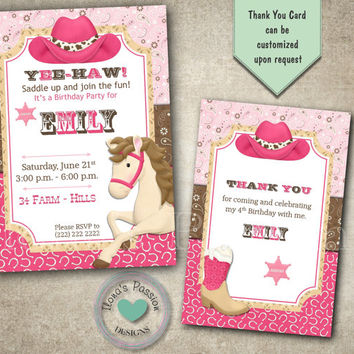 Cowgirl Birthday Invitation - Cowgirl Party - Western Party