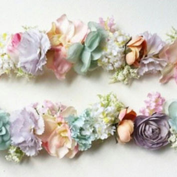 Pastel Flower Crown * Customized Floral  Headband Headpiece * Made to Order