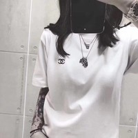 """""""Chanel"""" Unisex Casual Simple Classic Small Logo Embroidery Couple Short Sleeve T-shirt Top Tee"""