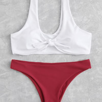 Mix And Match Knot Bikini Set -SheIn(Sheinside)