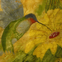 Canary yellow hummingbird original painting watercolor batik on rice paper uniquely colorful textured distressed vintage-like16x16 inches