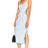 Mugler Side Lace Up Midi Dress in Mystic | FWRD
