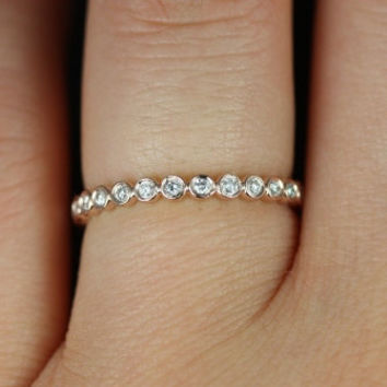 Petite Bubbles 14kt Rose Gold  Bezel Diamond FULL Eternity Band (Available in Diamonds and Other Metals)