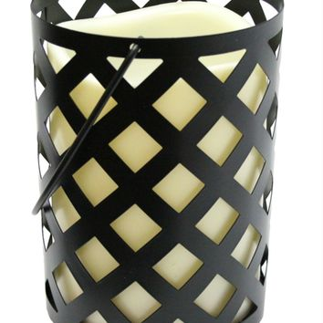 """7"""" Black Metal Criss Cross Lantern with Bisque LED Lighted Flameless Indoor-Outdoor Pillar Candle"""