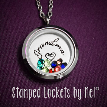 Grandma - Grandmother Necklace - Hand Stamped Stainless Steel Locket - Grandchildren's Birthstones - Personalized Jewelry - Nana, Granny
