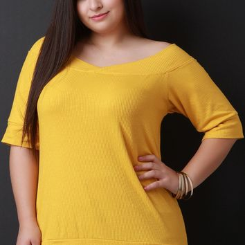 Ribbed Off Shoulder Elbow Sleeves Top (b)