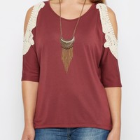 Marsala Crochet Cold Shoulder Dolman Top | Cold Shoulder | rue21