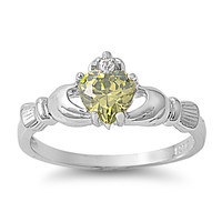 925 Sterling Silver CZ Claddagh Benediction Simulated Peridot Ring 9MM