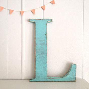 decoration wood letters french cottage wall decor letter L - Light Turquoise