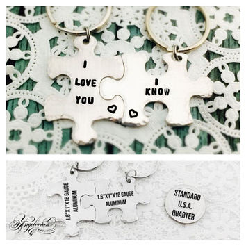 I Love You I Know, Couples Gift, Friends, Gift, Puzzle Piece, Key Chains, Hand Stamped, Star Wars, Geek