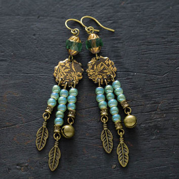 Native Inspired Earrings, Dreamcatcher Earrings, Vintage Tin Earrings, Feather Charm Earrings, Tribal Inspired Earrings, Bell Charm Jewelry