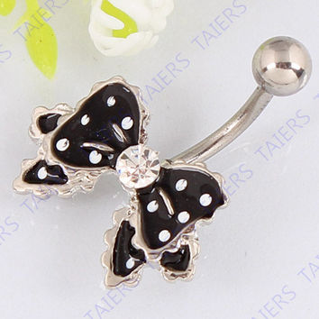 Belly ring Bow fashion body piercing jewelry Retail navel ring 14G 316L surgical steel bar Nickel-free