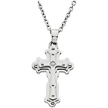 18 Inch Stainless Steel Diamond Cross Necklace