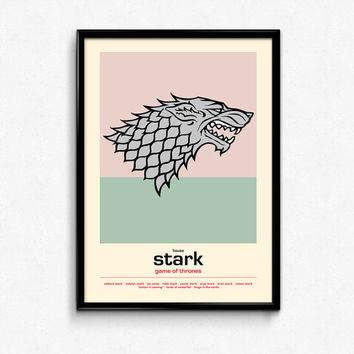 Game Of Thrones Poster House Stark Sigil - Winter Is Coming - Art Print, Multiple Sizes - 8x10 to 24x36 - Retro Movie Style