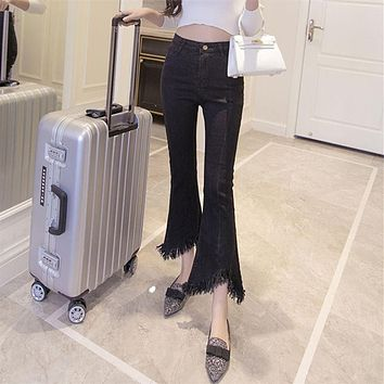 2017 Korean Fashion Jeans Woman High Waist Skinny Denim Irregular Flare Pants Vintage Slim Black Women Jeans WP47