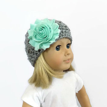 Gray Doll Hat, 18 Inch Doll Hat, Knit Doll Clothes, Hat with Flower