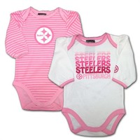 Steelers Baby Pretty Pink Stripes Bodysuit Duo