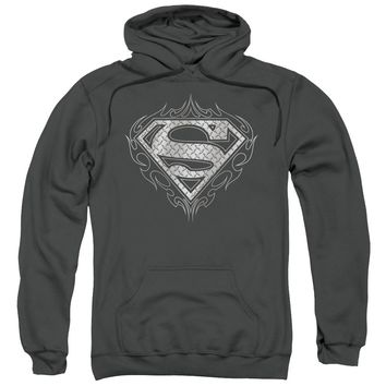 Superman - Tribal Steel Logo Adult Pull Over Hoodie Officially Licensed Apparel