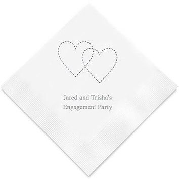 Dashed Hearts Printed Paper Napkins (Sets of 80-100)
