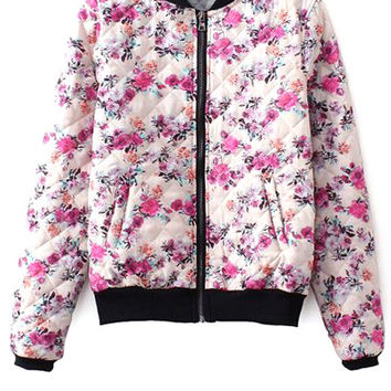Tiny Floral Print Stand Collar Jacket