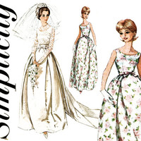 1960s Wedding Dress Pattern Simplicity 5343 Evening Bridal Gown & Train Bridesmaid Cocktail Prom Dress Jacket Womens Vintage Sewing Patterns