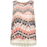 Mia Chica Watercolor Print Girls Crochet Trim Tank Multi  In Sizes